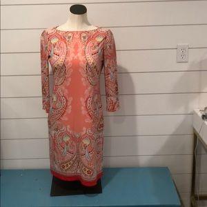 London Times coral  multi colored dress